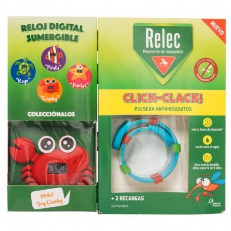 Relec Recarga Click-Clack Pulsera + Reloj Cangrejo