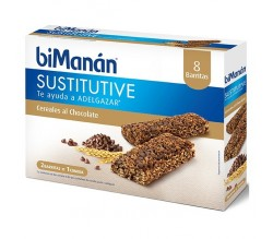 BIMANAN SUSTITUYE BARRITAS CEREALES PEPITAS DE CHOCOLATE 8UD