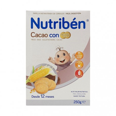 nutribén cacao con galletas maria 300 g.